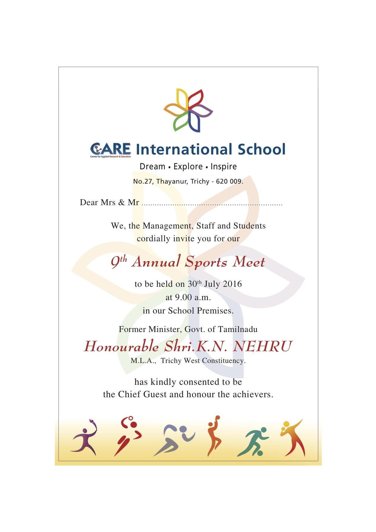 Annual Sports Meet Invite Care International School